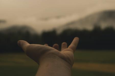 手, 举行, 到达, 地方, 伸出的胳膊, 爱, 人