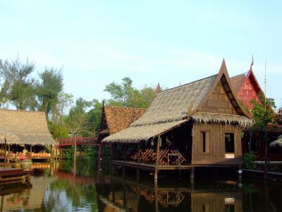 房屋, 木制, 泰国, 泰语, 河, 亚洲, 浮动