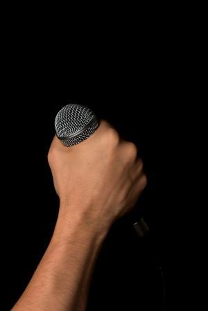 手, 麦克风, 麦克风, 举行, 拳头, 分离, 黑色
