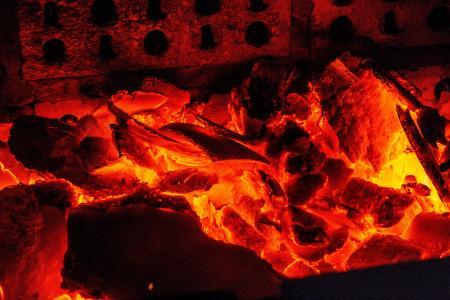 烧烤, 照片, 红色, 热, 煤炭, 制备