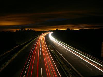 公路, 晚上, 交通, 光, 议案, 长时间曝光, 街道