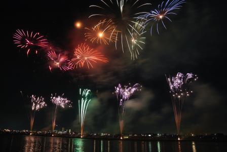 烟花, 多彩, 天空, 晚上, 日本, 节日, 祭