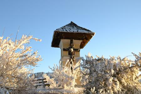 路边十字架, 冬天, 成熟, 奥地利, 寒冷, 感冒, 雪