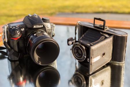 尼康, 爱克发, 老, 新增功能, 古董, 现代, 相机