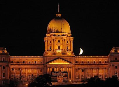 布达佩斯, 匈牙利, 在晚上, 宫, 建筑, 著名的地方, 晚上