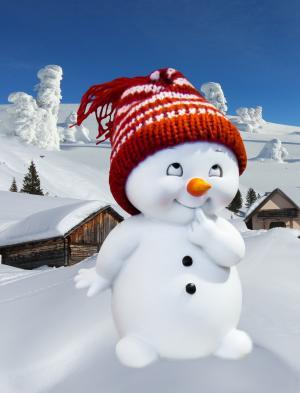 贺卡, 冬天, 小雪人, 寒冷, 雪, 照片蒙太奇, 感冒