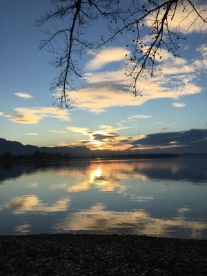 湖, 宁静, 日落, 德国, 几点思考