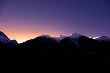 山脉, 雪, 冬天, morgenrot, 光, morgenstimmung, 日出