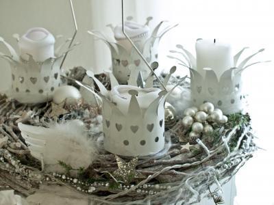 到来花圈, 白色, 圣诞节, x mas, 圣诞装饰, 诺埃尔, 节日装饰