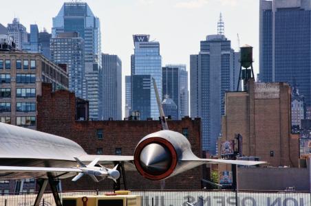 纽约, 曼哈顿, 纽约城, 美国, 航空母舰, 飞行甲板, 天际线