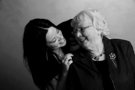 祖母, 爱, 友谊, 一代, 妇女, 人, 微笑
