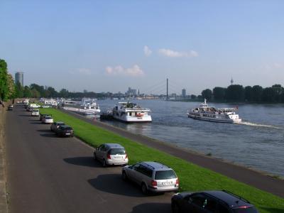 莱茵河, 河, 航运, 城市, 杜塞尔多夫, 德国, 天气很好