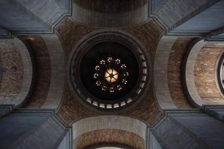 模式, 设计, 对称, 向上, 天花板, 建筑, 拱