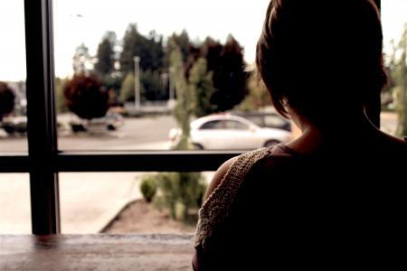 汽车, 女孩, 人, 剪影, 窗口, 女人