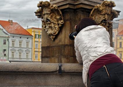 喷泉, 城市, 捷克狄祖维斯, 女孩, 照片, 相机, 图像