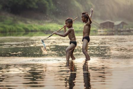 捕鱼, 作为儿童, 活动, 亚洲, 男孩, 柬埔寨, 握把