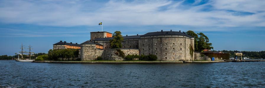 vaxholm, 堡, 斯德哥尔摩, 瑞典, 堡垒, 建筑, 建设