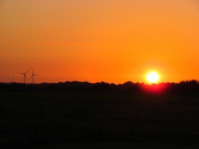 日落, 晚上, 风车, 梅克伦堡, 余辉, 天空, 傍晚的天空