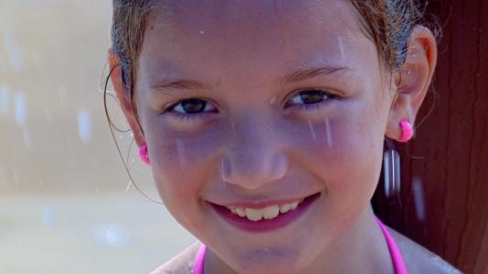 小女孩, 微笑, 脸上, 儿童, 女孩, 可爱, 快乐