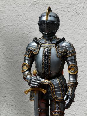 骑士, 盔甲, ritterruestung, 老, 中世纪, 金属, 剑