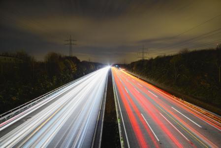 公路, 晚上, 长时间曝光, 交通, 灯, 聚光灯下, 道路