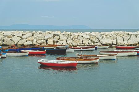 独木舟, 小船, 海洋, 附近的, 岩石, 白天, 鱼