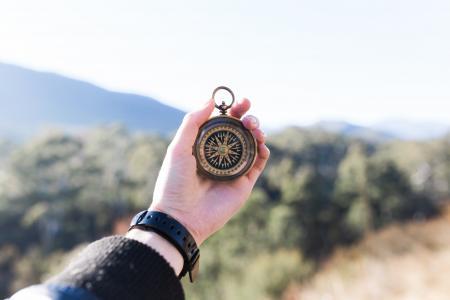 冒险, 指南针, 手, 宏观, 山, 户外, 旅行