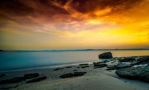 新加坡, 海滩, 日出, 沿海, 汉密尔, 海, 太阳能