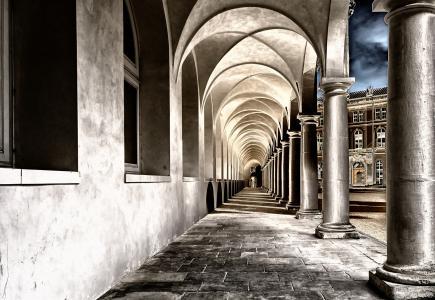 回廊, 修道院, 院子里, 德累斯顿, 岗, 跳马, 建筑