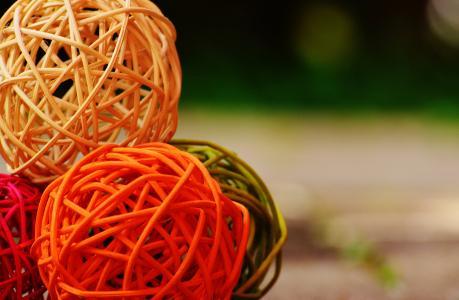 球, 木材, 编织, 装饰, 多彩, 购物篮