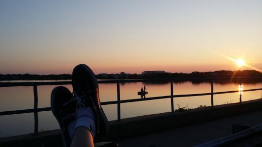鞋子, 日落, 小船