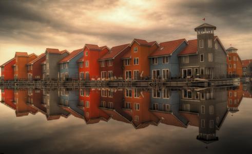 建筑, 多云, 多彩, 色彩缤纷, 房屋, 荷兰, 几点思考