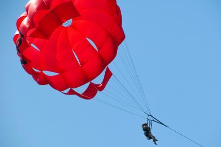 降落伞, 滑翔伞, 红色, 气球, 天空, 体育, 活动