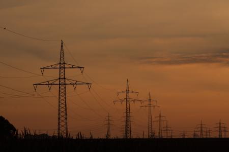 电源线, 塔, 电线杆, 当前, 电缆, 电源, 日落