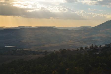 山脉, 山谷, 天空, 日落, 日出, 黄昏, 黎明