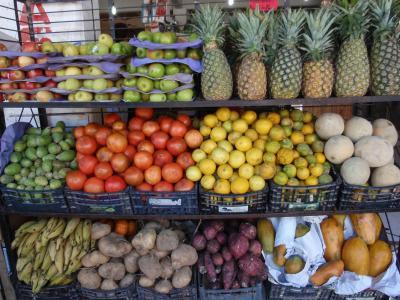 色彩缤纷, 热带水果, 货架上, 食品