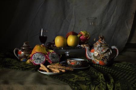 静物, 杯, 苹果, 火龙果, 葡萄酒, 玻璃, 透明