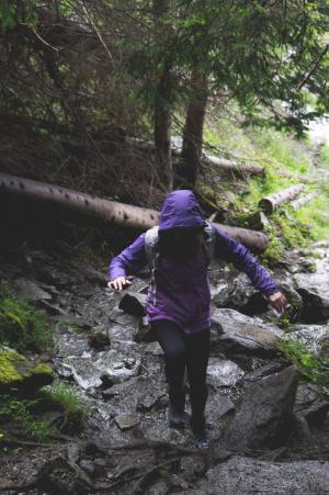 冒险, 女孩, 徒步旅行, 徒步旅行, 景观, 日志, 户外