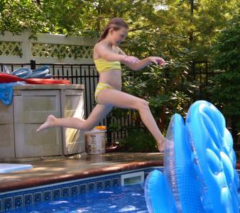 游泳池, 跳转, 女孩, 儿童, 游泳池, 游泳, 水