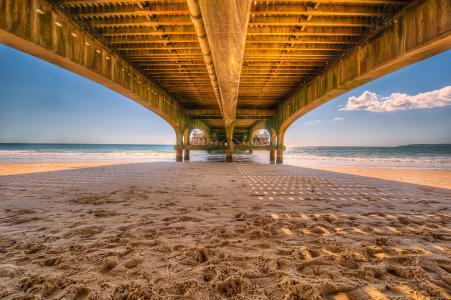 码头, 码头, 木制, 海滩, 沙子, 桥梁, 建设