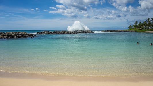 环礁湖, ko 欧利纳, 瓦胡岛, 夏威夷, 波, 岩石, 海滩
