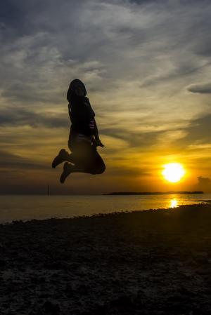 日落, 跳跃, 海滩, 女人, 行动, 乐趣