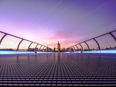 棕色, 清真寺, 悬索桥, 大教堂, 桥-男人作结构, 日落, 晚上