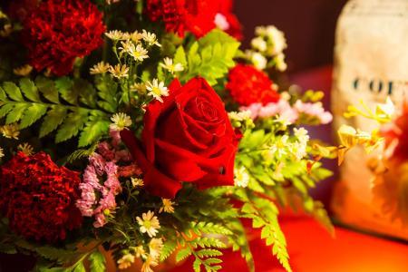 插花, 玫瑰, 花束, 红色, 庆祝活动, 装饰, 玫瑰-花