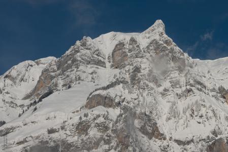 山, 雪, wiggis, glarus, 瑞士, 冬天, 高山