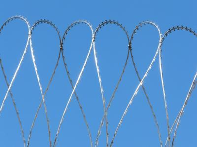 安全, 电线, 风险, 栅栏, 蓝色, 带刺的铁丝网
