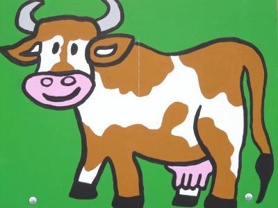 母牛, 卡通人物, 绘图, 有趣, 图像, 动物, 图