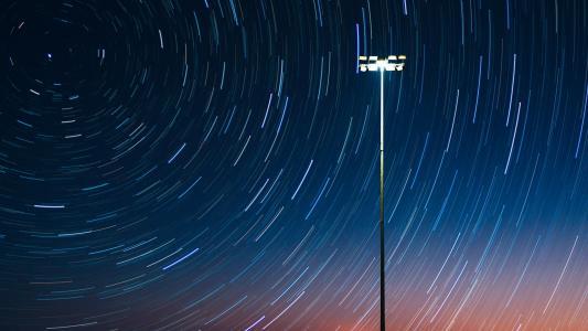 星星的夜晚, 灯柱, 晚上, 灯, 发布, 光, 天空