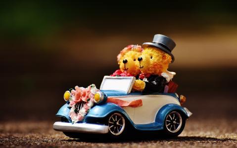 婚礼, 熊, 数字, 有趣, 邀请, 贺卡, 庆祝