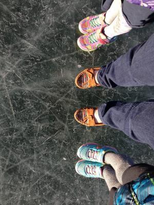 双脚, 冰, 冻结, 湖, 雪, 冬天, 滑冰